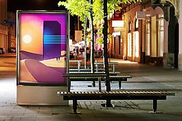 戶外夜景廣告燈箱樣機