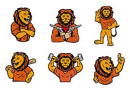 手繪獅子卡通吉祥物