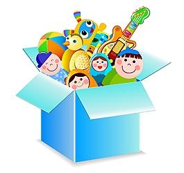 扁平矢量玩具箱