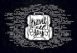 復古旅行背包插畫