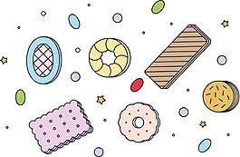 手绘饼干食物