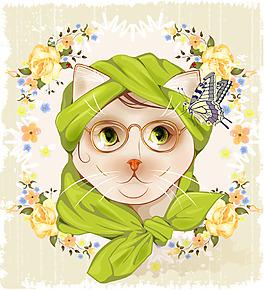卡通戴眼镜的小猫