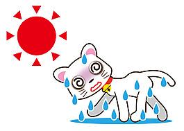 夏天太阳下面晒得流汗小猫卡通矢量素材