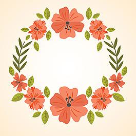 紅色花卉花邊邊框背景矢量素材