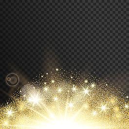 金色炫光星星效果矢量素材