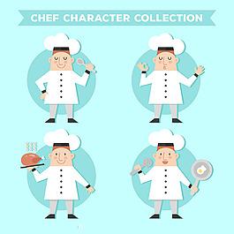 扁平風格廚師角色矢量素材