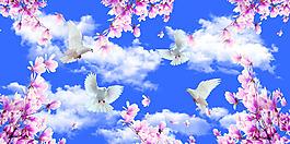 藍天白云白鴿桃花