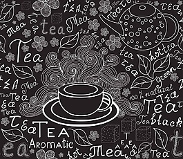 黑白咖啡花紋