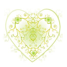 清新綠色花紋元素