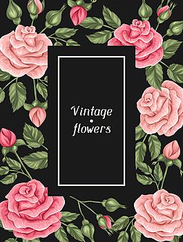 复古玫瑰纹理图案和邀请卡设计矢量素材