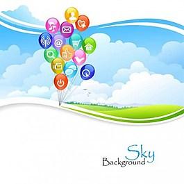 藍色天空按鈕背景圖