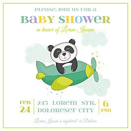 飛機嬰兒洗禮卡通熊貓邀請卡片矢量素材