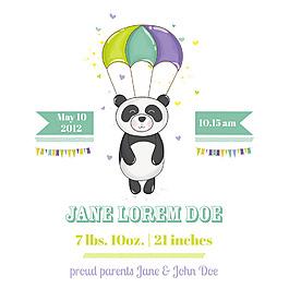 跳傘嬰兒洗禮卡通熊貓邀請卡片矢量素材