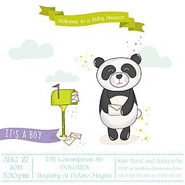 寄信嬰兒洗禮卡通熊貓邀請卡片矢量素材