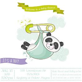 開心嬰兒洗禮卡通熊貓邀請卡片矢量素材