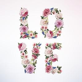 love 玫瑰花矢量背景裝飾免扣設計素材
