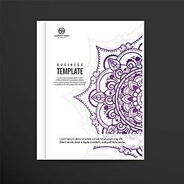 紫色曼陀罗花纹图案手册设计模板