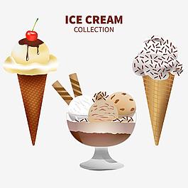 寫實風格美味的冰淇淋插圖矢量素材