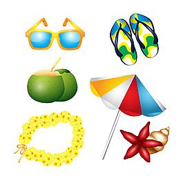 傘與太陽鏡和其他夏天元素矢量圖標