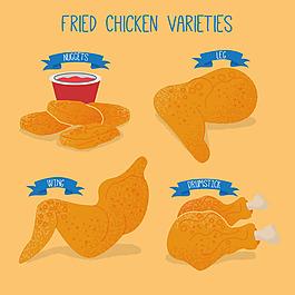 黃色炸雞雞肉插圖黃色背景