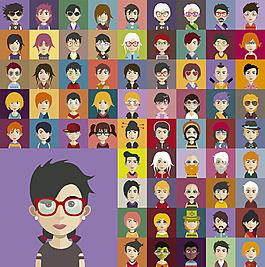 各种彩色的人物头像图标集合