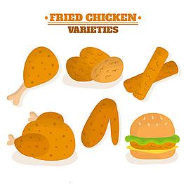 雞腿炸雞雞肉漢堡平面設計素材