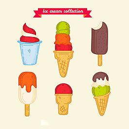 各種手繪美味冰淇淋雪糕圖標