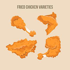 手繪炸雞雞腿雞肉矢量素材