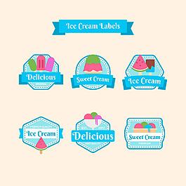 各種冰淇淋插圖標簽貼圖