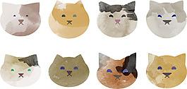 可愛水彩貓咪插畫