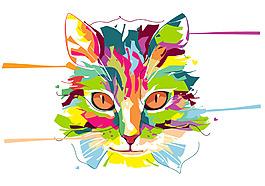 手繪水彩唯美貓咪插畫