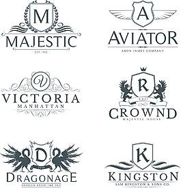 翅膀復古文字logo設計矢量素材