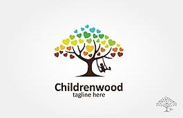 孩子們用樹蕩秋千矢量材料