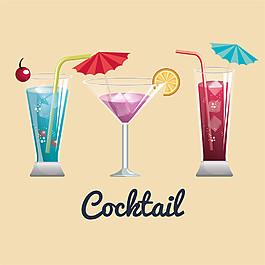三杯冰塊雞尾酒圖片