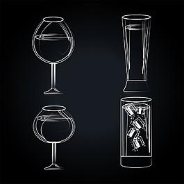 手繪酒杯圖片