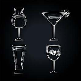 手繪線條雞尾酒圖片