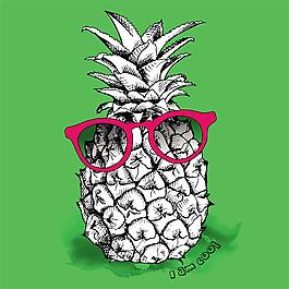 眼鏡菠蘿背景圖片