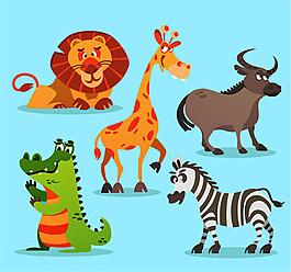 5款卡通非洲动物素材