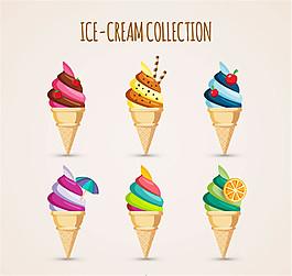6款卡通甜筒冰淇淋矢量图