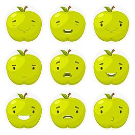 綠色蘋果表情圖標矢量素材
