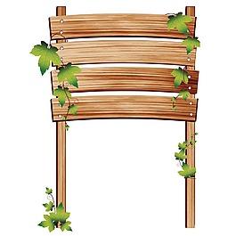 木板标牌绿叶元素