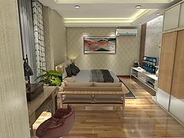 現代臥室效果圖