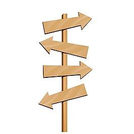 箭頭木紋標識牌元素