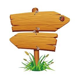 木纹标牌元素