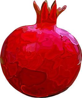 紅色水彩卡通手繪石榴矢量素材
