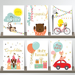 可爱卡通动物生日快乐海报贺卡矢量素材