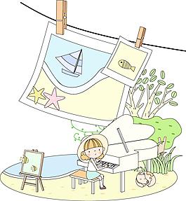 卡通照片彈鋼琴的人物