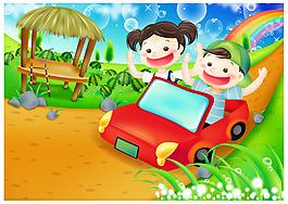 卡通儿童卡车元素