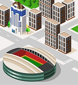 3D城市建筑立体模型图