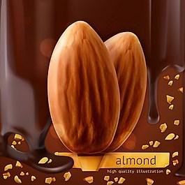 杏仁和巧克力背景矢量材料